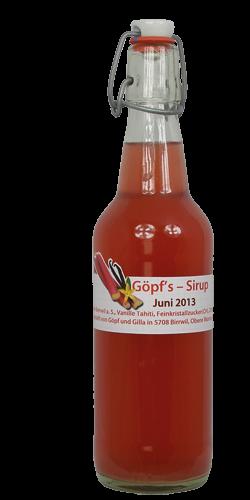<p>Rhabarber-Vanille ist ein absolut erfrischender Frühlingssirup in Pink. Das Phänomen, sobald der Sirup mit Wasser gemischt wird, verwandelt er sich zu einem edlen milchig-weissem Getränk. Original-Vanilleschoten aus Tahiti, für deren Anbau die Blüten von Hand bestäubt werden, geben diesem Sirup den vollendeten Geschmack. <br />Die rote Farbe erhält der Sirup vom roten Rhabarber , dank dem speziellen Göpf/Gisi-Herstellungsverfahren.<br />Erwachsene und Kinder lieben ihn auf Anhieb. Dieser Sirup ist ein aussergewöhnliches Mitbringsel, natürlich, speziell, wie all unsere Sirupe!</p>