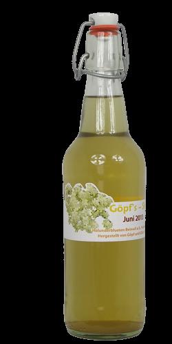 <p>Wer kennt ihn nicht, den Holunderblütensirup? Ein Klassiker! Zauberhafte, weisse Blütendolden mit dem unverwechselbaren frischen Duft ergeben einen sehr erfrischenden und durstlöschenden, gelblichen Sirup. <br />Gerne wird der Holunderblütensirup mit Wasser oder kohlensäurehaltigem Mineralwasser als Durstlöscher genossen oder zum Apéro mit Prosecco gemischt. Bestens geeignet ist er auch zum Aromatisieren von Erdbeer- oder Rhabarberkonfitüren. Desserts erhalten ein wunderbares Sommeraroma, wenn man ihnen einen Schuss Holunderblütensirup beimischt.</p>