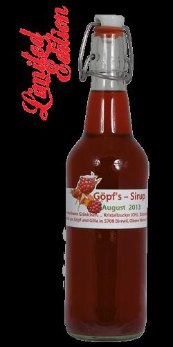 <p>Manfred sagt auch Himbrom zu diesen Beeren. Sie wachsen in seinem Garten in Gränichen. Über Jahre hat er sie mühsamst vermehrt. Netterweise durften wir während seines Kurz-Urlaubes diese Rarität pflücken und verarbeiteten sie zu einem ausserordentlichen fruchtigen Sirup.<br />Der daraus entstandene leuchtend rote Sirup ist eine wahre Rarität und für Sirupliebhaber ein MUSS.<br />Erfrischend und belebend zu jeder Jahreszeit</p>