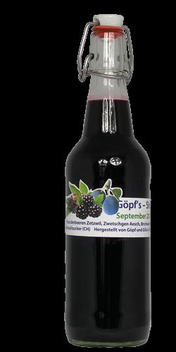 <p>Die Vielfalt an Obst und Beeren des Endsommers haben uns dazu hinreissen lassen den Zwetschgen - Holunder - Brombeer - Mix zu kreieren. Der Vorgeschmack auf den nahenden Herbst wurde mit dieser ausgefallenen Kreation erfolgreich eingefangen. Ein schwarzblauer Sirup entstand, mit überwiegenden Geschmack nach Holunderbeeren und einen Abgang von Zwetschge und Brombeeren. <br />Ob kalt oder heiss getrunken, schmeckt den nahenden Herbst heraus.</p>